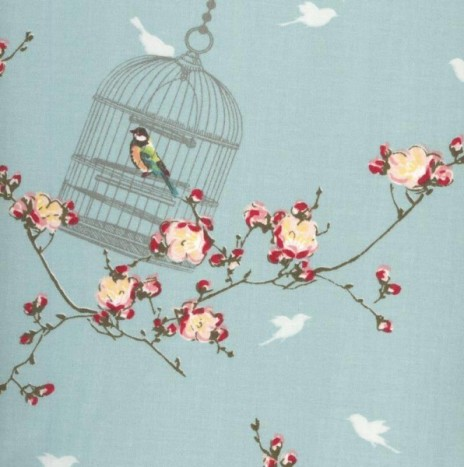 Oilcloth – Birdcage  Aqua Sky