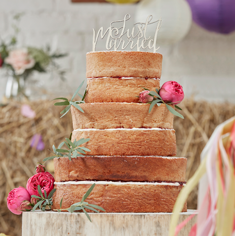 Just Married Wooden Cake Topper – Boho