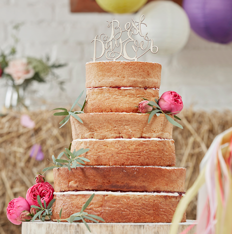 Best Day Ever Wooden Cake Topper – Boho