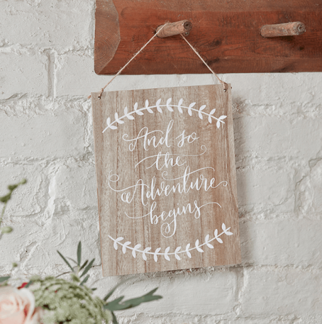 And So The Adventure Begins Wooden Sign – Boho