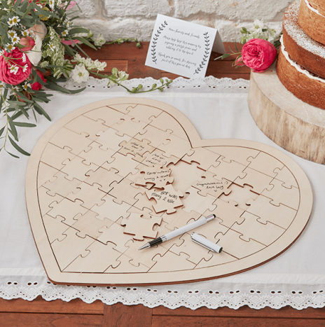 Wooden Jigsaw Guestbook Alternative – Boho