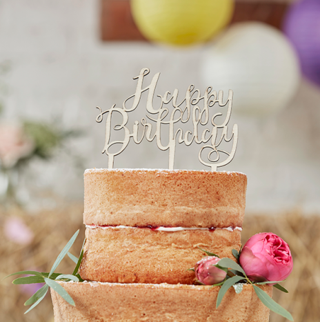 Happy Birthday Wooden Cake Topper – Boho
