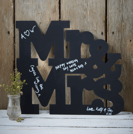 Mr And Mrs Chalkboard Wooden Guest Book Alternative – Vintage Affair