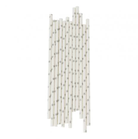 Paper Straws Stars Silver