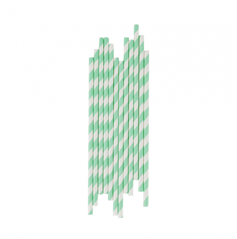 Paper Straws Stripes Aqua