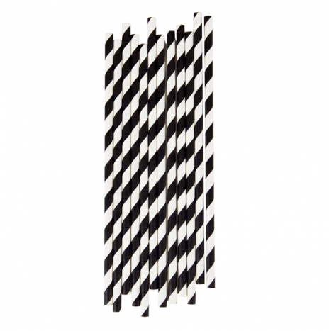 Paper Straws Stripes Black