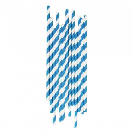 Paper Straws Stripes Blue