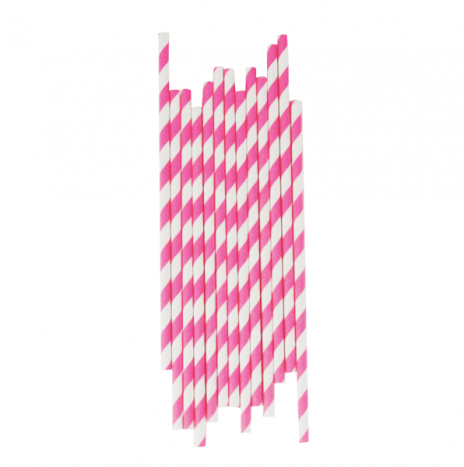 Paper Straws Stripes Candy Pink