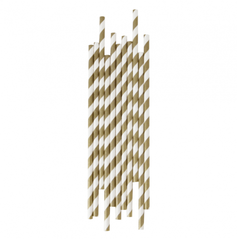 Paper Straws Stripes Gold
