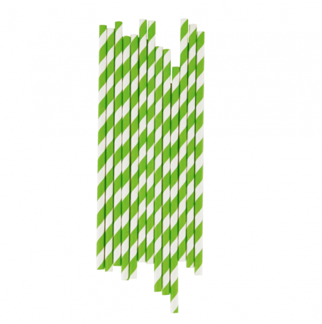 Paper Straws Stripes Green