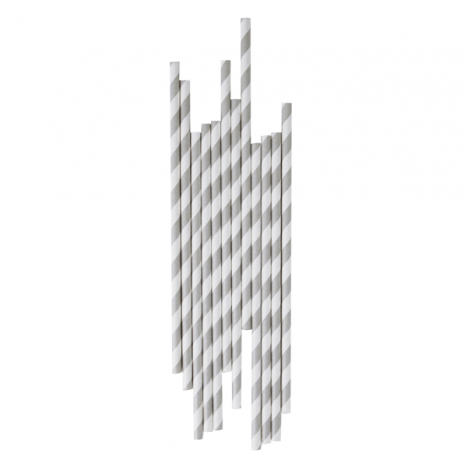 Paper Straws Stripes Grey