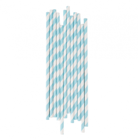 Paper Straws Stripes Light Blue