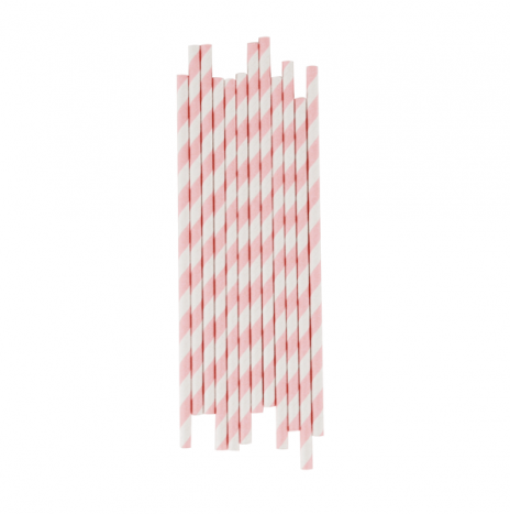 Paper Straws Stripes Light Pink
