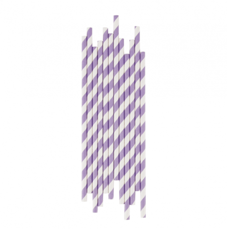 Paper Straws Stripes Lilac