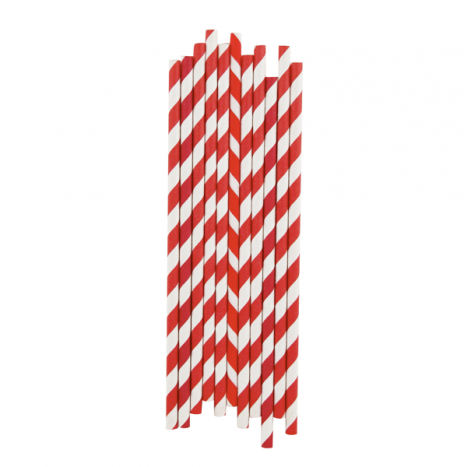 Paper Straws Stripes Red