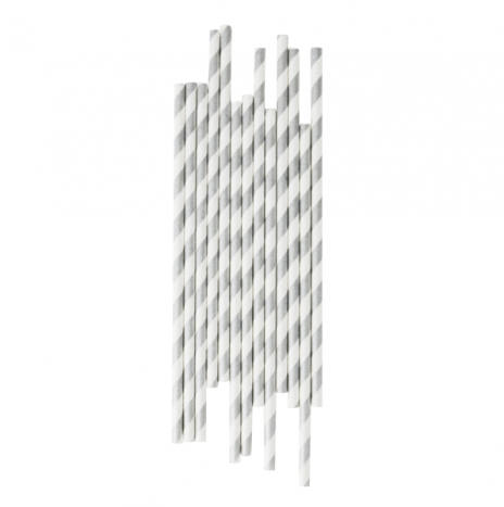 Paper Straws Stripes Silver