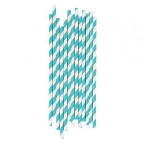 Paper Straws Stripes Turquoise