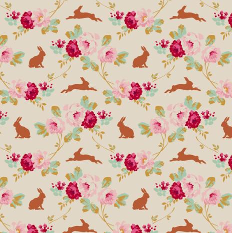 Rabbit & Roses Linen – Cabbage Rose by Tilda