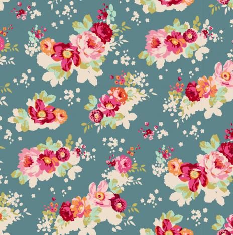 Flowercloud Teal – Cabbage Rose by Tilda
