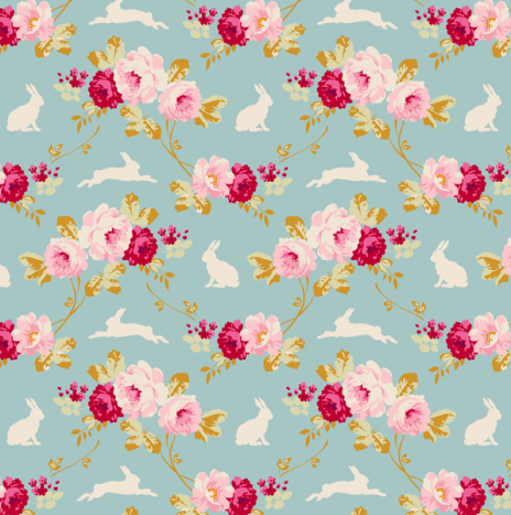 Rabbit Roses Teal – Memory Lane by Tilda