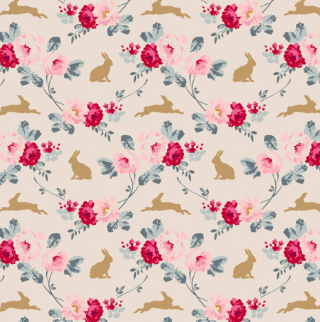 Rabbit Roses Slate – Memory Lane by Tilda